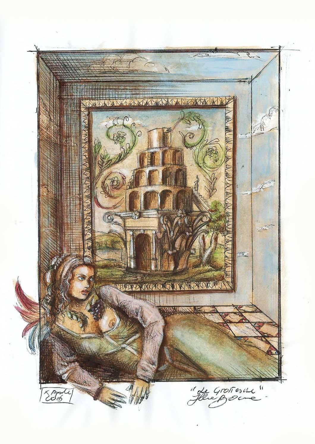 Grottesca, acrilico ed inchiostro su carta, 20.4 X 14 cm (bozzetto per spettacolo teatrale)