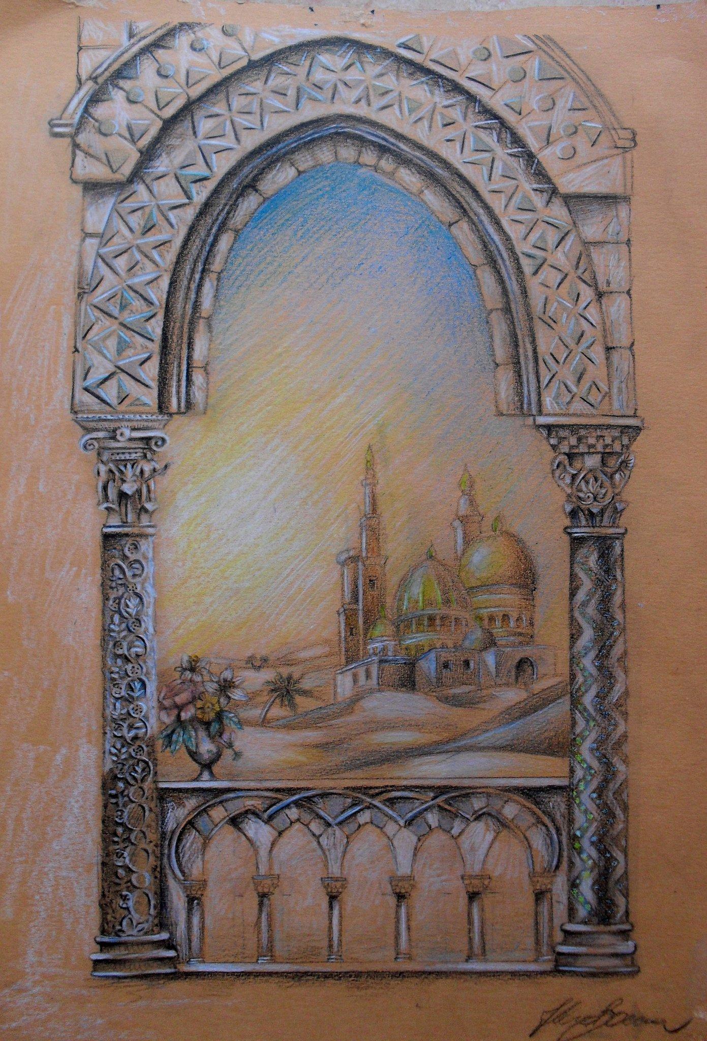 Bozzetto, pastelli su carta, 19 X 29 cm