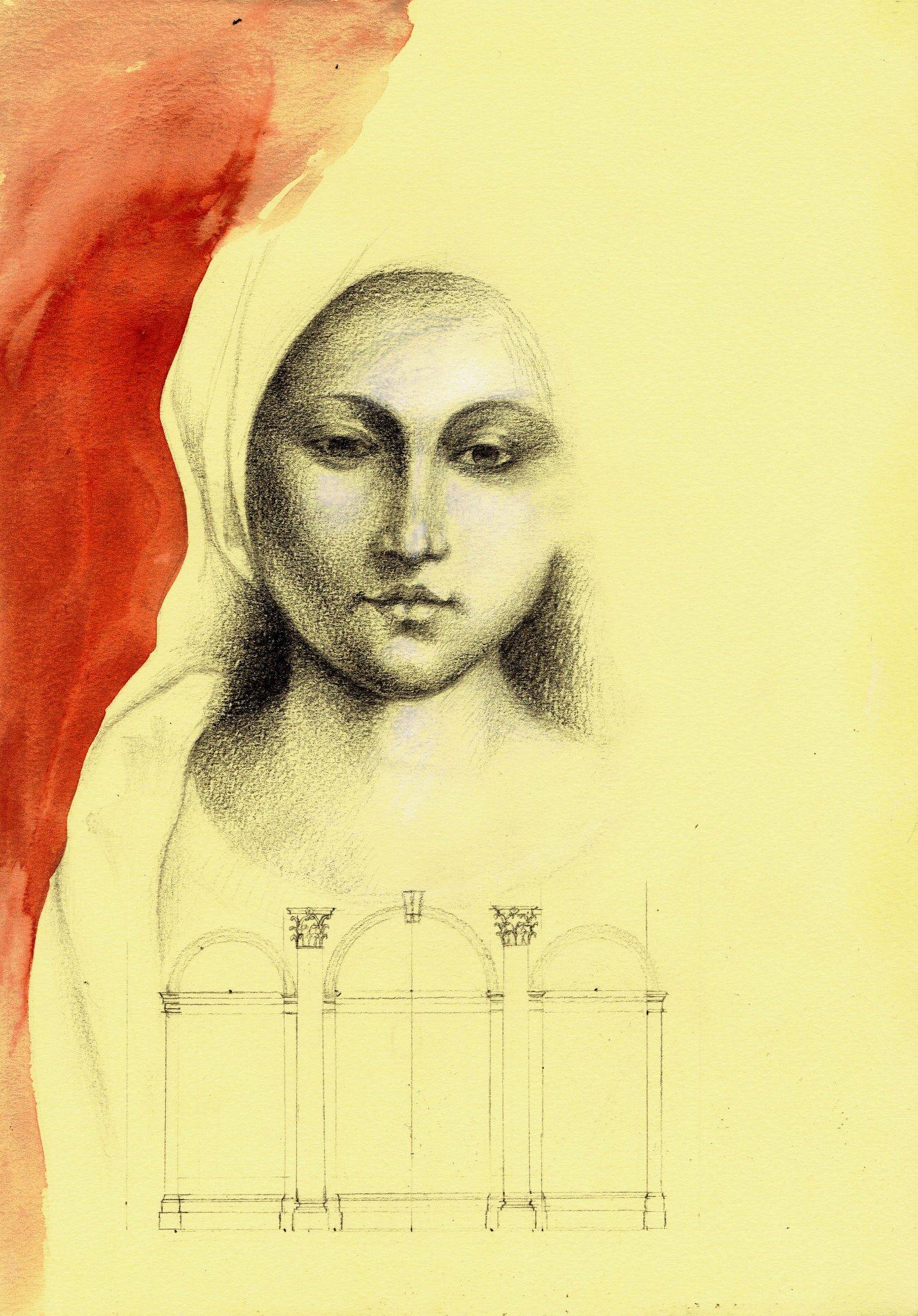Vergine, grafite ed acrilico su carta, 21 X 29 cm